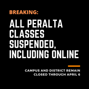 """Text saying: """"Breaking: all Peralta classes suspended, including online"""""""