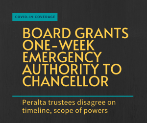 Text: Board grants one-week emergenc authority to chancellor