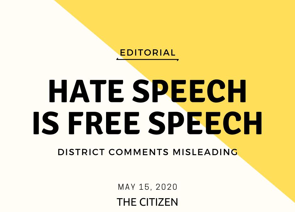 Hate speech is free speech, whether we like it or not