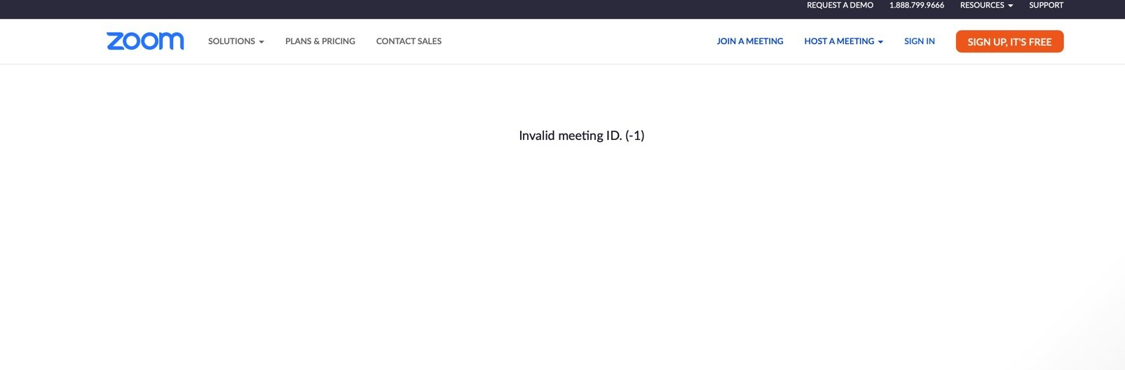 A screenshot from zoom indicating that the town hall link isn't working